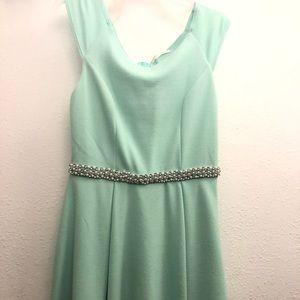 Teal dress with diamond detail belt